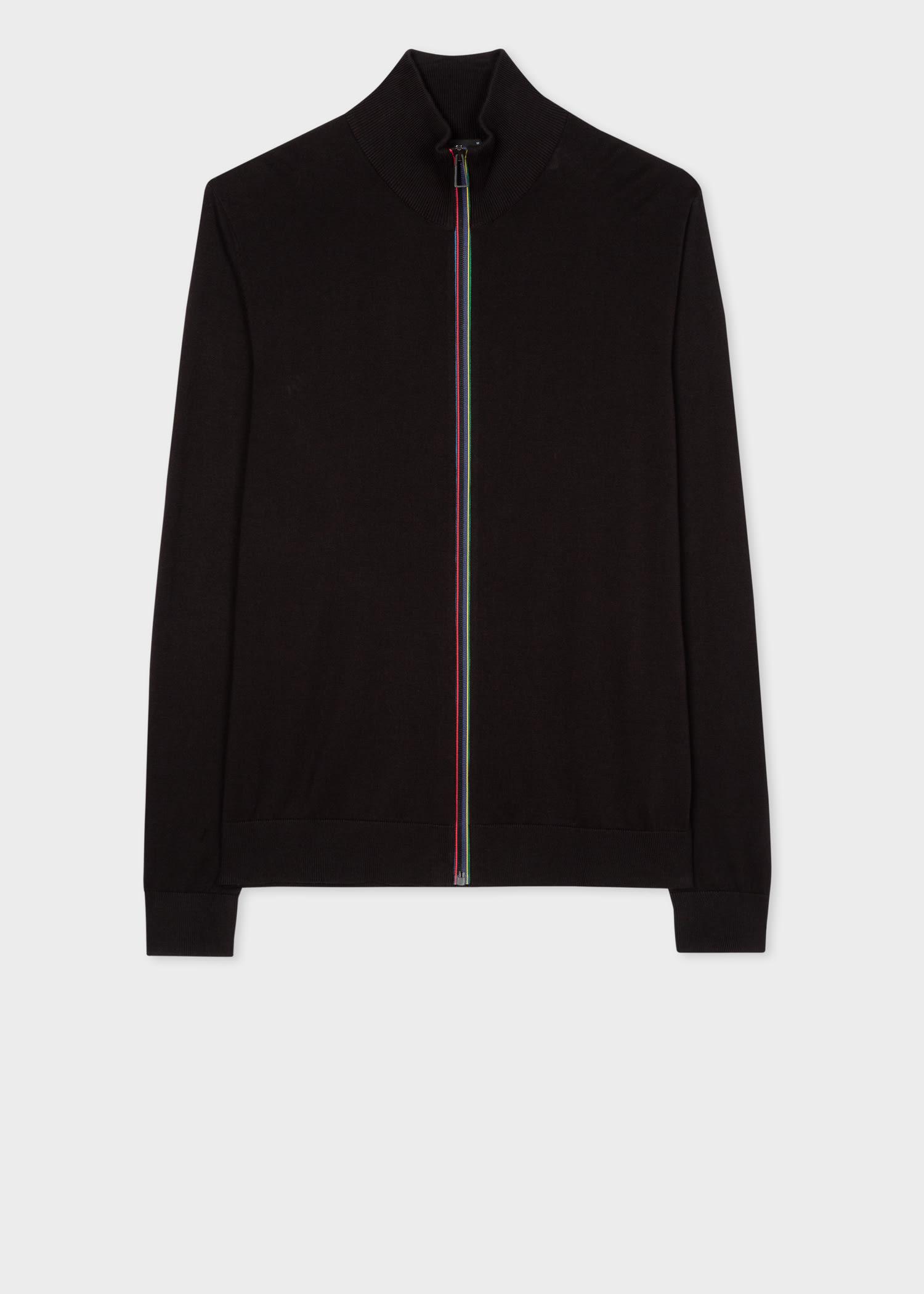 Men's Black 'Sports Stripe' Zip Cardigan
