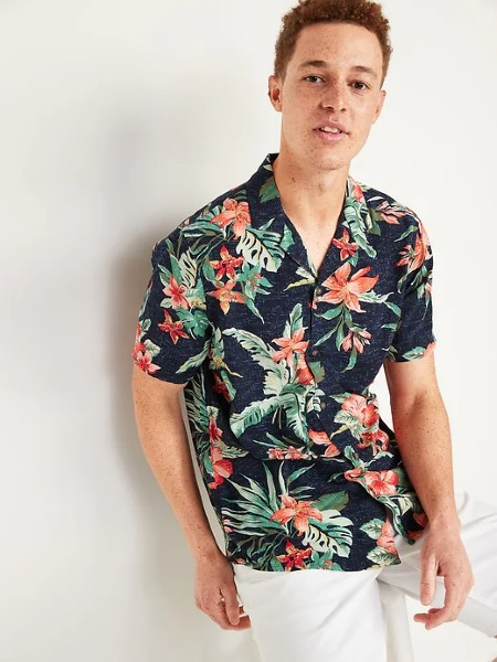 Tropical-Print Short-Sleeve Camp Shirt for Men