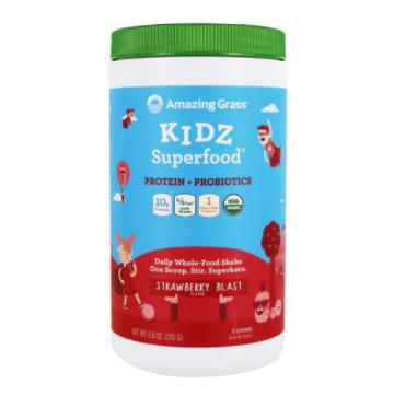 Amazing Grass Kidz Superfood® Protein + Probiotics Drink Mix Powder Strawberry Blast