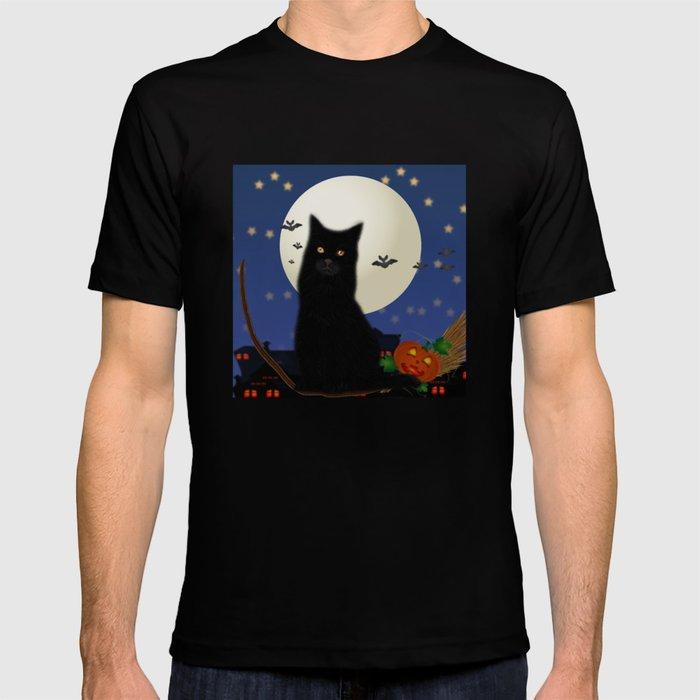 Halloween cat, Halloween, cat, moon, pumpkin, Halloween pumpkin, Halloween night, bats T-shirt